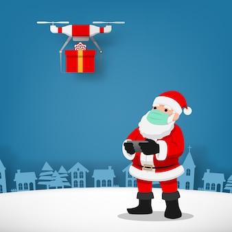 Covid-19 infografik der niedlichen weihnachtsfigur, weihnachtsmann tragen chirurgische maske, die die drohne steuert, um ein geschenk für kinder zu senden und soziale physische distanz zu halten. coronavirus schutz.