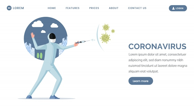 Covid-19 landingpage design. fechter, der gegen china viruszellen flache illustration kämpft.