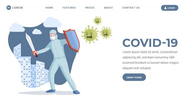 Covid-19 landingpage design. medizinischer arbeiter, der flache illustration des coronavirus kämpft.