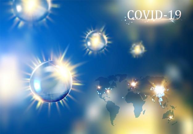 Covid-19 mit blasen des viruskonzeptbildes und der kleinen weltkarte auf blauem hintergrund. die koronavirus-wissenschaftsillustration gegen blau.