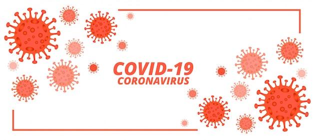 Covid-19 neuartiges coronavirus-banner mit mikroskopisch kleinen viren
