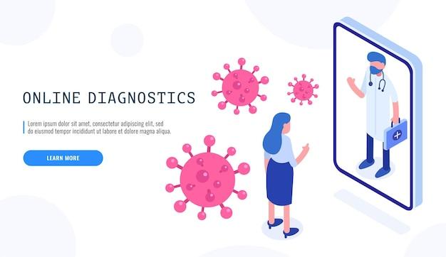 Covid-19 online-diagnosevirus. patientin und arzt. covid-19-coronavirus-pandemie. isometrisches webbanner für die zielseite. vektor-illustration.