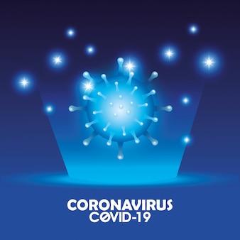 Covid 19 partikel und beschriftung des kampagnenhintergrunds