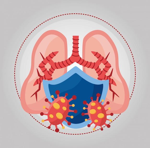 Covid 19 partikel und lungen mit schild