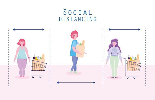 Covid 19, prävention, soziale distanzierung im supermarkt