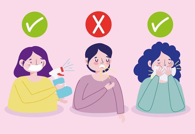 Covid 19 präventionspersonen mit medizinischer maske und sprühdesinfektionsmittel, mund mit papier abdecken, mund nicht mit der hand abdecken