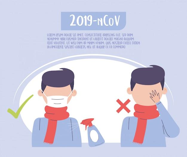 Covid 19 quarantäne, medizinische maske tragen und augenkontakt vermeiden