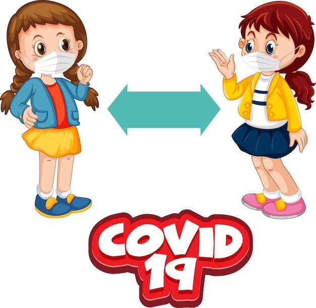 Covid-19-schriftart im cartoon-stil mit zwei kindern, die soziale distanz halten, isoliert auf weißem hintergrund