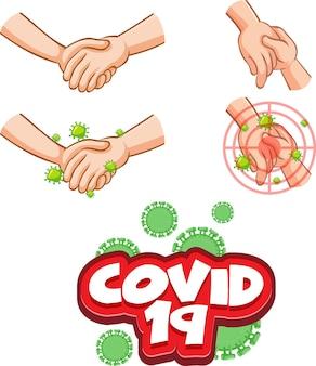 Covid-19-schriftdesign mit virus verbreitet sich durch händeschütteln auf weißem hintergrund