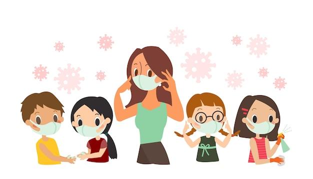 Covid-19-schutzanweisung für kinder. lehrer und schüler tragen gesichtsschutzmaske, händewaschen, sprühen von antibakteriellem desinfektionsspray, cartoon-illustration