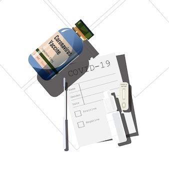 Covid-19 testkit und impfstoff - vektorillustration