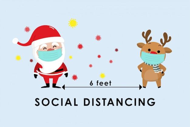 Covid-19 und soziale distanzierende infografik mit niedlichem weihnachtskarikatur