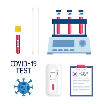 Covid 19-virus-reagenzgläser und design medizinischer dokumente zum thema ncov cov und coronavirus