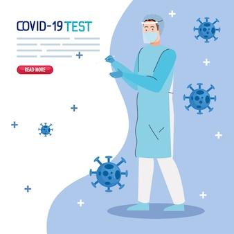 Covid 19 virus test arzt mit maske einheitliches design von ncov cov und coronavirus thema
