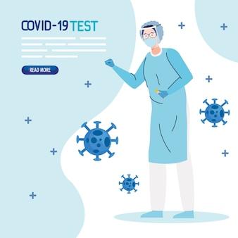 Covid 19 virus test arzt mit maskenbrille und einheitlichem design von ncov cov und coronavirus thema