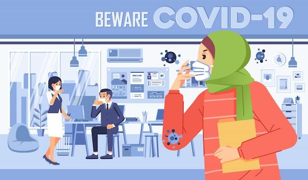 Covid-19-virus verbreitet sich im büro, selbstbewusstsein, trägt eine maske und vermeidet menschenmassen