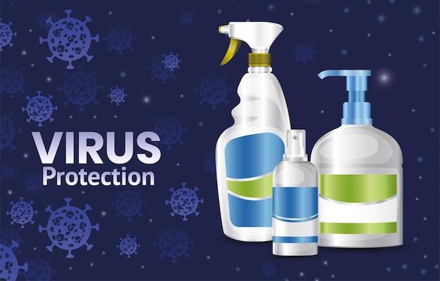 Covid 19 virusschutz seifenflasche und desinfektionsspray design von 2019 ncov cov und coronavirus thema