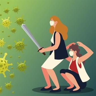 Covid 19 virusschutz und frauen mit masken und schwert design von 2019 ncov cov und coronavirus thema vektor-illustration