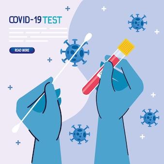 Covid 19-virustesthände mit handschuhen, die das tupfer- und röhrendesign des ncov cov- und coronavirus-themas halten