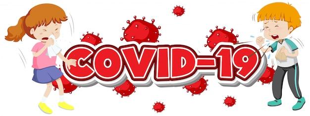 Covid-19-zeichen mit zwei kranken kindern