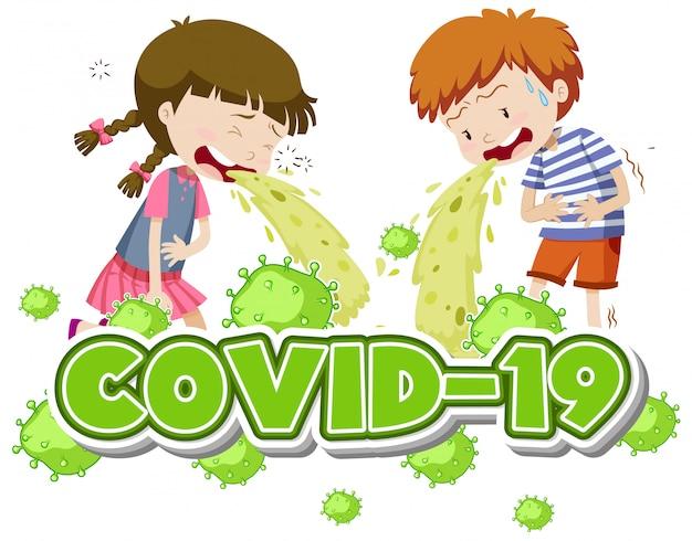 Covid 19 zeichenvorlage mit zwei kindern erbrechen
