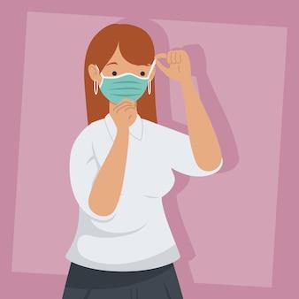 Covid prävention, junge frau, die medizinische maske auf rosa hintergrundillustrationsdesign trägt