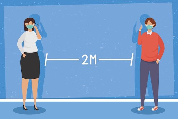 Covid prävention, junges paar unter verwendung der gesichtsmaske im sozialen distanzierenden illustrationsdesign