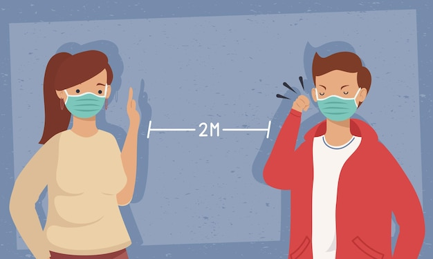 Covid-prävention, paar, das gesichtsmaske verwendet, um soziales illustrationsdesign zu distanzieren
