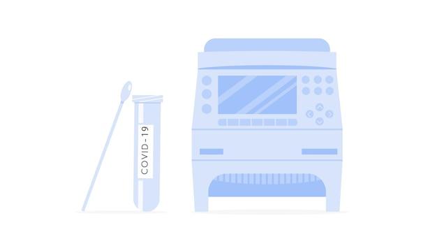 Covid rt pcr-maschine, röhrchen und tupferprobe. thermocycler für coronavirus-test. dna-verstärker