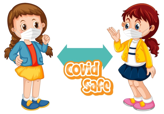 Covid safe schriftart im cartoon-stil mit zwei kindern, die soziale distanz halten, isoliert auf weißem hintergrund