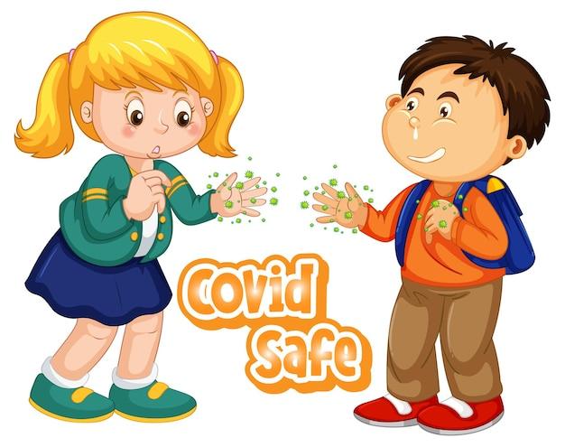 Covid safe schriftdesign mit zwei kindern zeigt ihre schmutzigen hände auf weißem hintergrund
