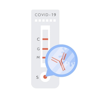 Covid-schnelltest mit antikörper- und bakterienzeichen. coronavirus-express-test mit positivem ergebnis.
