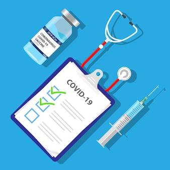 Covid19-aufgabenliste impfstoffplan spritzen- und impfstofffläschchen-illustrationsvektor