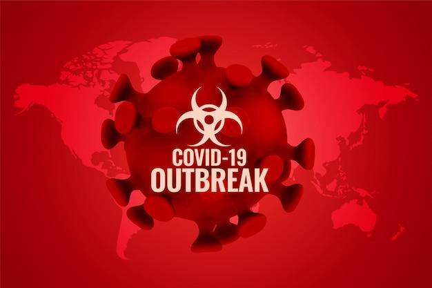 Covid19-ausbruchshintergrund im roten farbschema