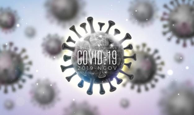 Covid19. coronavirus-ausbruchsdesign mit viruszelle in mikroskopischer ansicht auf hellem hintergrund. 2019-ncov corona virus illustration zum thema gefährliche sars-epidemie für banner.