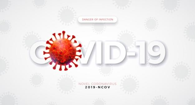 Covid19. coronavirus-ausbruchsentwurf mit fallender viruszelle und typografie-buchstabe auf hellem hintergrund. vektor 2019-ncov corona-virus-illustration auf gefährlichem sars-epidemiethema für banner.