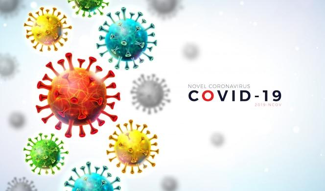 Covid19. coronavirus-ausbruchsentwurf mit fallender viruszelle und typografie-buchstabe auf hellem hintergrund.