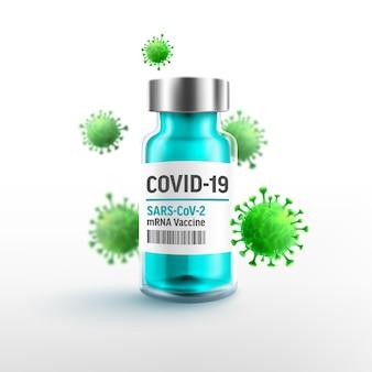 Covid19-coronavirus-impfstoffflaschenimpfung mit mrna-impfstoffen und viruszelle and