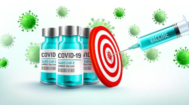 Covid19-coronavirus-impfung mit mrna-impfstoffen und spritzeninjektion zum ziel Premium Vektoren