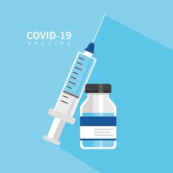 Covid19 impfstoff hoffnung mit spritze und fläschchen vektor illustration design