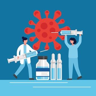 Covid19-impfstoff mit ärzten, die spritzen- und fläschchen-vektorillustrationsdesign anheben
