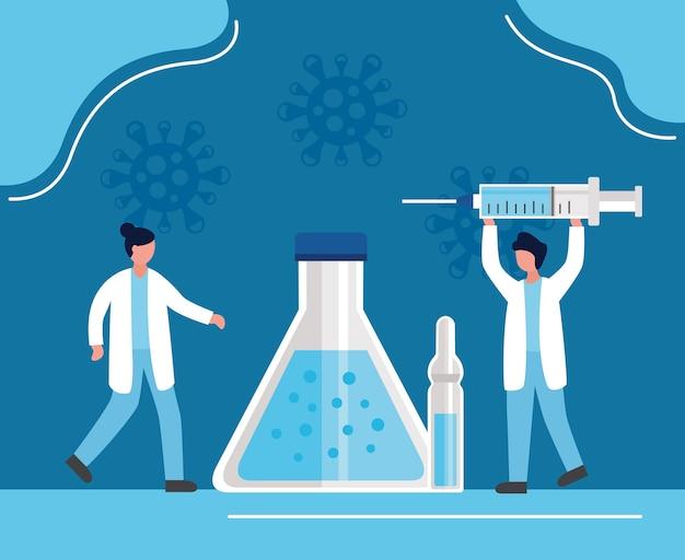 Covid19-impfstoff mit ärzten, die spritzen- und röhrentestvektorillustrationsentwurf anheben