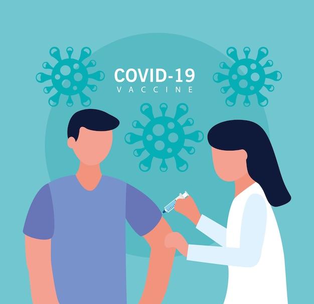 Covid19-impfstoff mit weiblichem arzt, der männlichen patientenvektorillustrationsentwurf injiziert