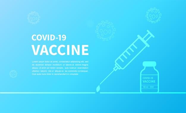 Covid19-impfstoffbanner mit blauem hintergrund, spritzeninjektion und impfflasche für covid19