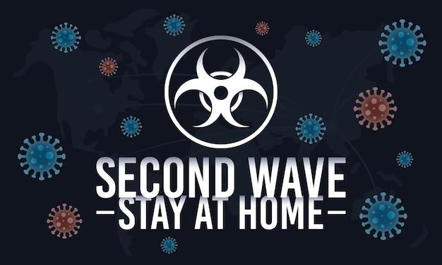 Covid19-kampagne der zweiten welle mit biohazard-dichtung und partikeln