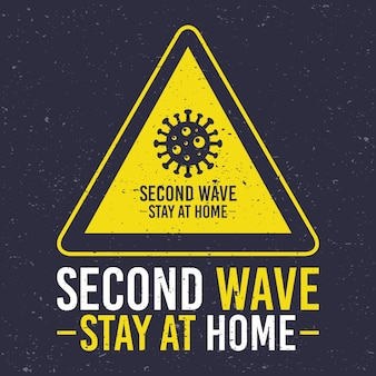 Covid19-kampagne der zweiten welle mit viruspartikeln im dreieck