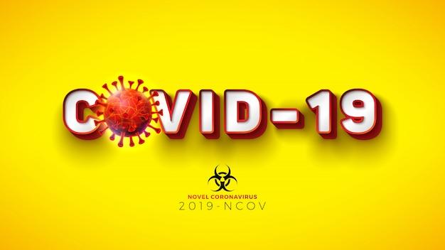 Covid19. neuartiges coronavirus-konzeptdesign mit viruszelle und biologischem gefahrensymbol