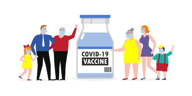 Covid19 oder coronavirus 2019ncov-impfstoffkonzept glückliche familie mit schützender medizinischer maske mit impfstoff-fläschchen gegen papa-mutter-tochter-sohn einzeln auf weißer hintergrundvektorillustration