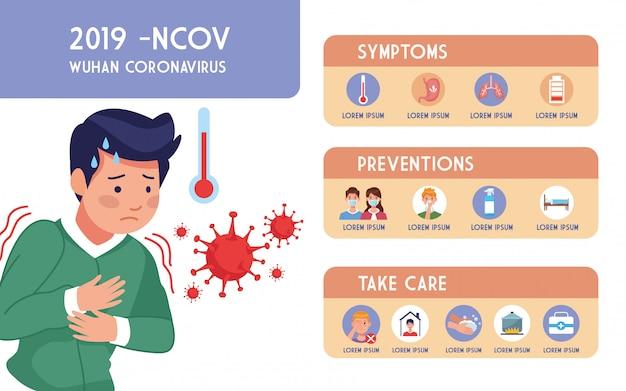 Covid19 pandemie flyer mit mann krank und infografiken illustration design