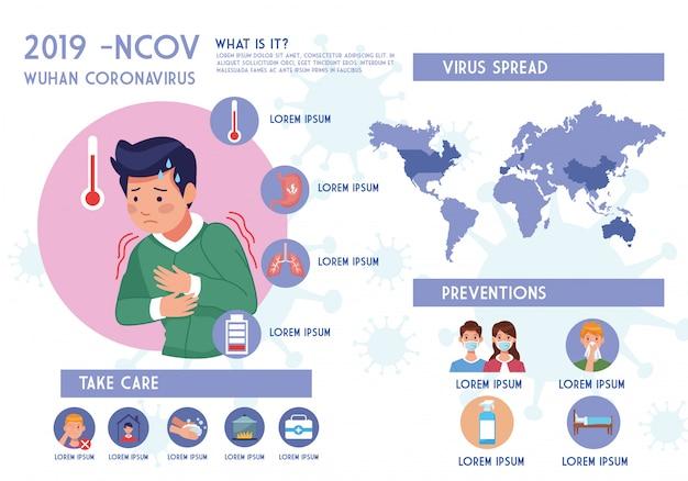 Covid19 pandemie flyer mit mann krank und infografiken